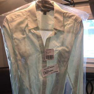 Mint green striped long sleeve blouse